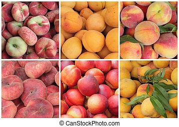 variado, nectarinas, fruits, albaricoques, melocotones