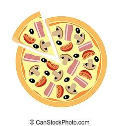 variado, pizza, con, hongos, tomates, aceitunas