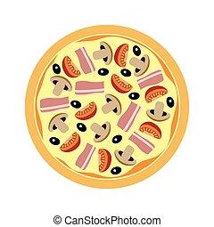 variado, pizza, con, hongos, tomates