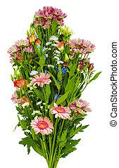 variado, ramode flores, en, un, fondo blanco