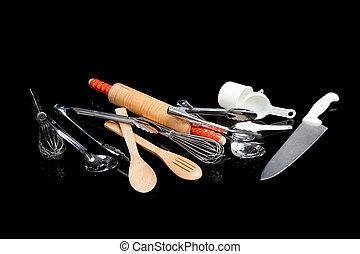 variado, utensillos de cocina, en, negro