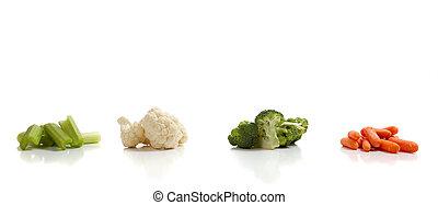 variado, vegetales, en, un, fondo blanco