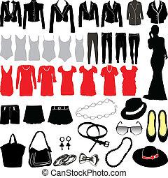 variado, womens, roupa