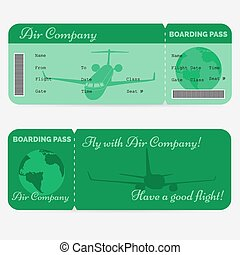 Variant of airline boarding pass. Green ticket isolated on white background