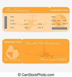 Variant of airline boarding pass. Orange ticket isolated on white background
