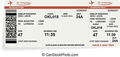 Variant of airline boarding pass ticket in orange color
