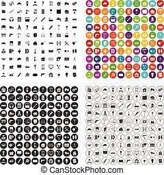 variante, restauración, vector, iconos, conjunto, 100