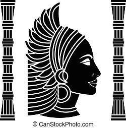 variante, schwarz, negerin, profile.