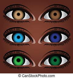 varianten, ögon, mänsklig