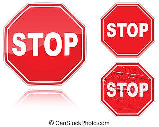 variantes, ensemble, arrêtez panneau signalisation