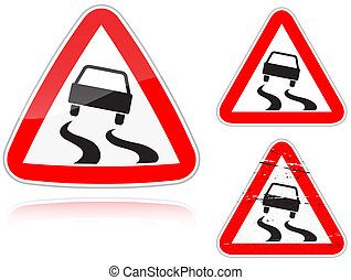 Variants a Slippery road - road sign