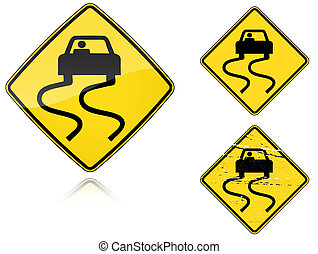 Variants a Slippery when wet - road sign - Set of variants a...