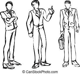 variants., homme affaires, 3, e, monochrome
