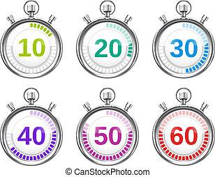 variar, seis, cronômetros, coloridos, vezes
