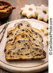 Christmas stollen with cookies
