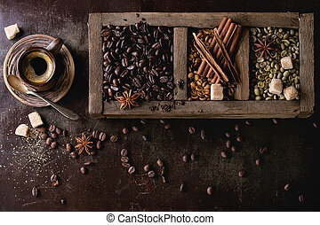 Variation of coffee beans - Green and brown decaf unroasted...