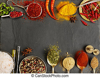 Variation of spices with copy space
