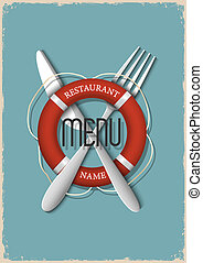 variation, retro, 3, fruits mer, -, menu, conception, restaurant