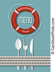 variation, retro, fruits mer, -, 4, menu, conception, restaurant