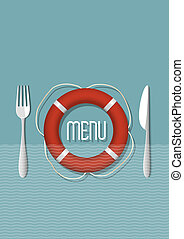variation, retro, fruits mer, -, conception, menu, 5, restaurant