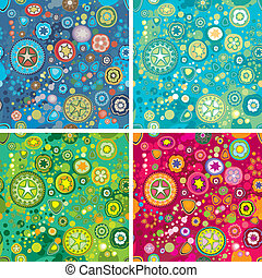 Variations Of Colorful Flower Space Backgrounds, editable vector illustration
