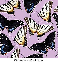 Varicolored butterflies seamless
