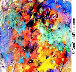 Vibrant varicolored gouache painted texture as background.