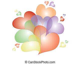 Varicolored hearts