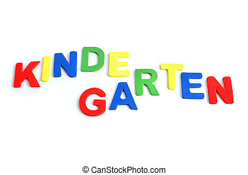Varicolored letters building the word Kindergarten. All isolated on white background.