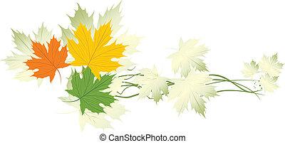 Varicolored maple leaves. Banner. Vector illustration