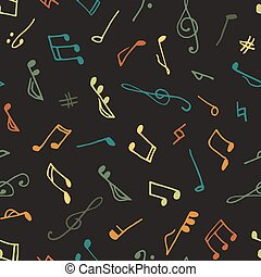 varicolored, musik, seamless, muster