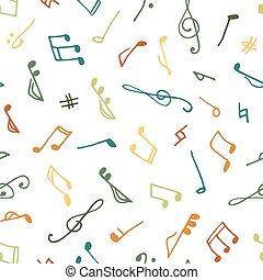 varicolored, musique, seamless, modèle
