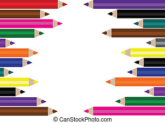Varicolored pencils, frame - Varicolored pencils