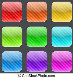varicolored, strisce, arrotondato, quadrato, bottoni