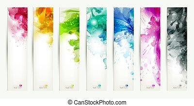 varicolored, zeven, set, banieren