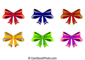 Varicoloured bows. - A few bright bows of different color ...
