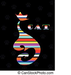 varicoloured Cat on black background with paw