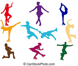 varicoloured figure skaters on a white background