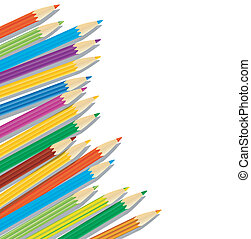 varicoloured pencils on a white background, vector ...