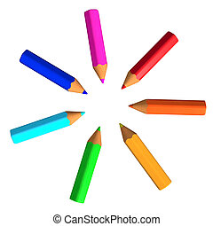 Varicoloured Pencils - Seven varicoloured crayons isolated ...