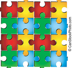 varicoloured puzzle on a white background, vector ...