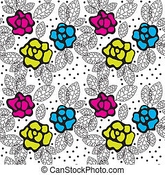 Varicoloured roses - Beautiful seamless floral background ...