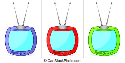 Varicoloured television sets. - Three old varicoloured ...