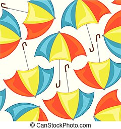 Varicoloured umbrella pattern on white background is ...