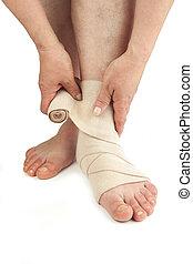 Varicose veins and bandage. Isolated on white background