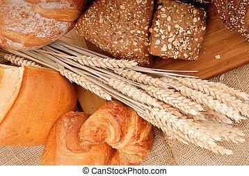 Varied bread display - Variety of nutritional breads, ...