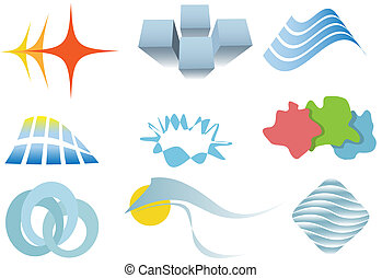 Varied set of colorful design elements or icons