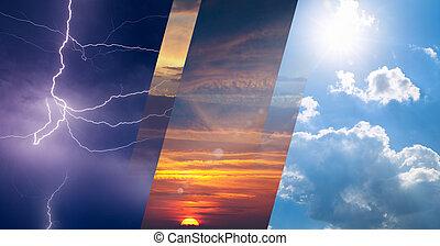 variedad, concepto, pronóstico, collage, condiciones de clima