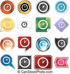 variedad, conjunto, reloj, avisador, icono