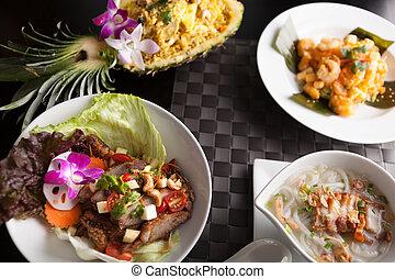 variedad, de, alimento tailandés, platos